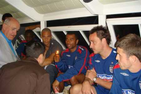 Discussing tactics with the England team
