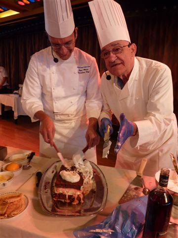Showing of my cooking skills on the Black Watch with executive chef Ziggy.